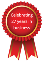Red Ribbon Image Celebrating 27 Years In Business Image